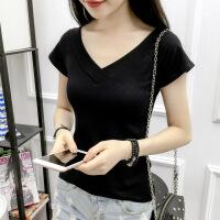 2018夏装新款性感低领黑色短袖T恤女纯白色V领露背修身体恤女上衣