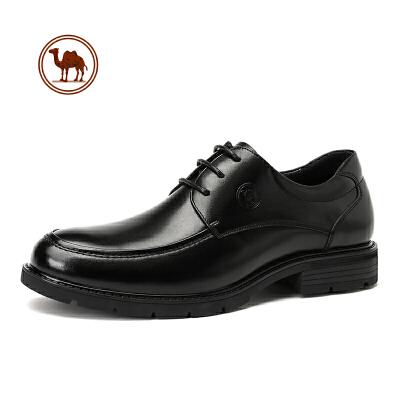 骆驼牌男士皮鞋正装休闲真皮2019秋季英伦潮流商务系带黑色男鞋子