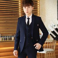 男士韩版西服三件套装发型师修身新郎礼服西装男套装休闲商务正装