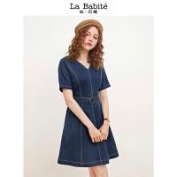 【3折到手价 149元】修身牛仔裙新款韩版小个子高腰短裙显瘦v领短袖连衣裙