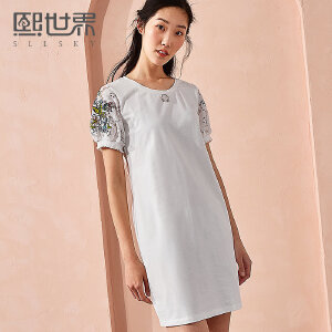 熙世界中长款五分袖圆领灯笼袖连衣裙女2018年夏装新款刺绣SL002