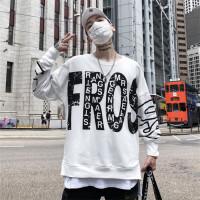 潮字母大印花卫衣男开叉嘻哈宽松hiphop圆领外套