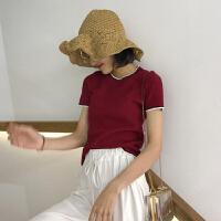 撞色显瘦时尚上衣个性学院风新款圆领短袖简约甜美打底衫T恤