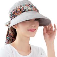 遮阳帽 女时尚夏季防晒帽子 韩版可折叠空顶太阳帽防晒运动旅行沙滩帽