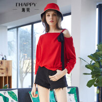 海贝2018春季新款女装上衣 大红色雪纺单肩吊带撞色系带长袖衬衫