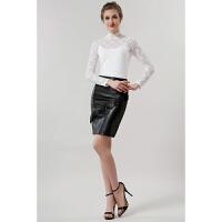 欧美春款小衫高领蕾丝长袖打底衫大码女装T恤修身显瘦上衣吊带 白色 (805款)