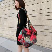 阎双创造 新款民族风专柜女包 2255吊染花韩版丝光棉麻帆布包 大容量旅行运动背包学生书包
