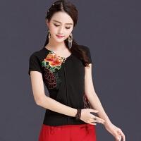 中国风女装上衣 夏季新款民族风刺绣半袖显瘦大码复古绣花打底T恤