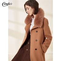 【满300减30】全羊毛毛呢外套女冬季新款宽松斗篷外衣大毛领流行赫本呢大衣