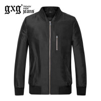 gxg.jeans男装秋季休闲黑色长袖拉链青年棒球领夹克外套63621281