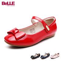 【159元2双】百丽童鞋17年新款女童皮鞋蝴蝶结中大童单鞋舞蹈鞋亲子鞋 DE0333