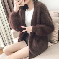 毛衣女士秋冬韩版灯笼袖宽松加厚中长款貂绒兔毛开衫外套潮