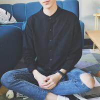 春夏立领长袖衬衣男士色日系小清新修身韩版衬衫小外套薄款