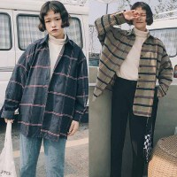 bf原宿风春季韩版大码200斤胖mm学院风格子慵懒宽松百搭衬衫外套