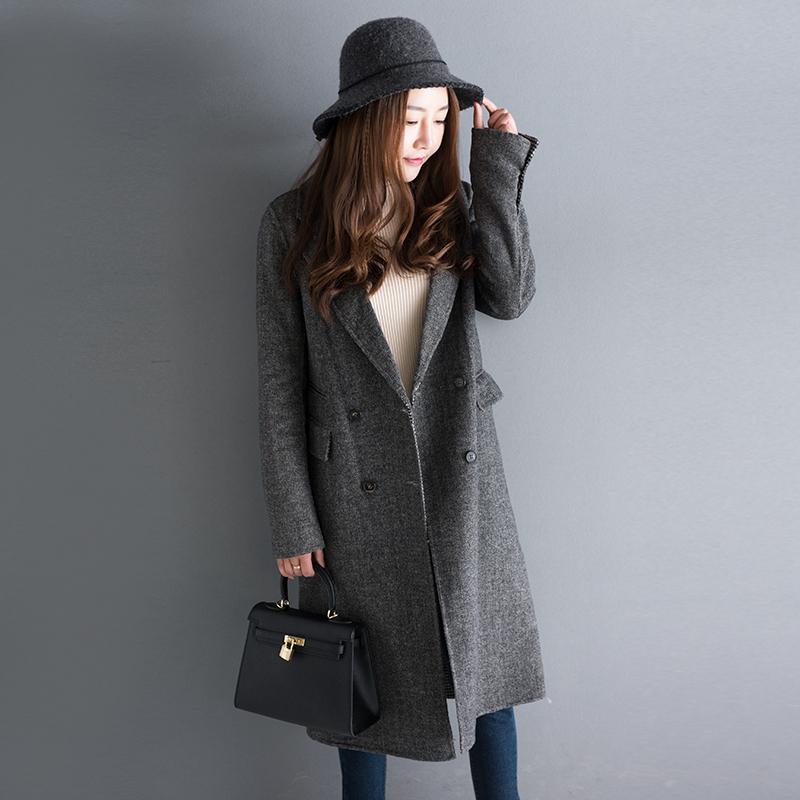 人字纹千鸟格双面呢女士冬装中长款毛呢大衣外套N1/2/19 发货周期:一般在付款后2-90天左右发货,具体发货时间请以与客服协商的时间为准