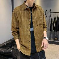 新款男韩版格子长袖衬衫格子潮流帅气青少年学生休闲衬衣男寸衣