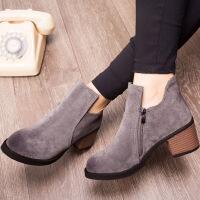 彼艾2017秋冬新款马丁靴女英伦风磨砂皮短靴女粗跟中跟单靴裸靴女靴子