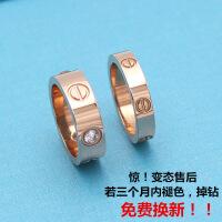 情侣戒指镀18K钛钢玫瑰金指环 日韩潮男女款学生银色镶钻彩金对戒