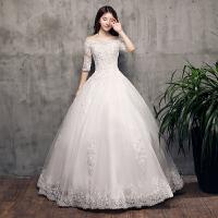 婚纱礼服2018新款韩式时尚一字肩齐地新娘结婚中袖蕾丝显瘦大码夏 白色