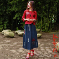 春装新款中国风女装绣花改良旗袍上衣民族风复古牛仔裙套装女