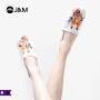 jm快乐玛丽2019春季新品平底套脚设计师涂鸦休闲男鞋子906M