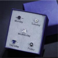 创意礼品925纯银一周套装潮流日韩版男耳钉 一盒装耳环女欧美街头夜店单只
