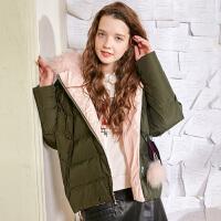 冬装新品 真毛领加厚宽松白鸭绒外套羽绒服女D746010Y20