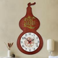 中式客厅个性葫芦挂钟创意简约钟表时尚家用时钟现代中国风静音钟