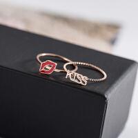 kiss嘴唇对戒学生情侣戒指原创设计镀玫瑰金彩金指环韩版时尚钛钢