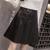 PU皮裙�闳�2017秋季新款�n版高腰修身�@瘦大�[A字裙短裙半身裙女 黑色