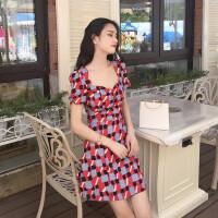 夏装2018新款女韩国复古方格印花修身中长裙气质修身显瘦连衣裙潮
