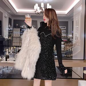 安妮纯法国小众连衣裙女秋冬2020新款复古显瘦打底裙子黑色礼服秋