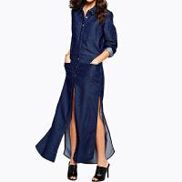 2018春装新款 欧美时尚经典大口袋长裙 性感开衩单排扣牛仔连衣裙