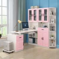 书桌简约家用转角电脑桌书柜书架组合一体卧室台式桌学生写字桌子
