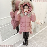 女童冬装2018新款棉衣韩版女孩洋气羽绒中长款加厚棉袄外套潮 豆沙粉