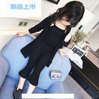 童装女童秋装套装2018新款韩版休闲针织衫上衣儿童时尚三件套潮
