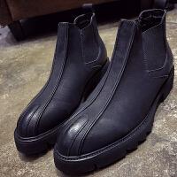 马丁靴男冬季韩版黑色尖头切尔西短靴一脚蹬高帮皮鞋发型师靴子潮
