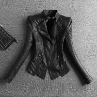 20180429202514120【天天】加厚pu皮衣女士短款韩版修身大码短外套机车服夹克潮