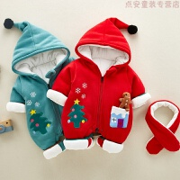 新生儿冬装连体衣宝宝新年衣服圣诞哈衣网红婴儿外出服抱衣