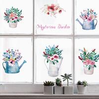 橱窗装饰客厅玄关玻璃田园风清新墙贴纸贴画植物小花盆栽