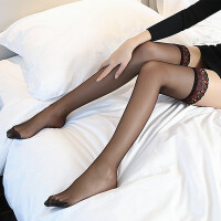 孔雀蕾丝花边长筒袜硅胶防滑后竖线性感诱惑过膝情趣丝袜批发8015