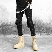 高街拼皮膝盖泼墨破坏弹力牛仔裤修身小脚铅笔裤朋克黑色长裤
