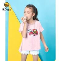 【4折价:67.6】B.duck小黄鸭童装女童圆领短袖T恤 105-150 BF2101938