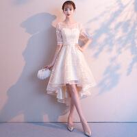 宴会晚礼服2018新款高贵优雅伴娘服洋装小礼服裙女前短后长显瘦 香槟色