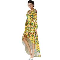 修身连衣裙 显瘦印花 燕尾长裙 度假前短后长沙滩裙