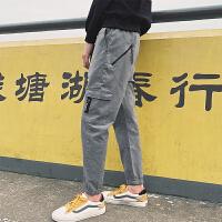 夏季港风九分裤男裤子韩版潮流小脚休闲裤日系宽松束脚工装裤
