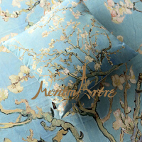 蒙马特大街订制艺术抱枕靠枕靠垫世界名画梵高花开杏树