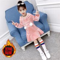 女童卫衣加绒加厚冬2018新款韩版打底衫儿童中大童保暖中长款上衣