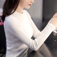 秋冬装2018新款半高领白色毛衣女套头长袖上衣紧身针织打底衫百搭