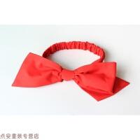 欧美纯手工超大红色蝴蝶结黑白格子结棉质婴儿弹力发箍